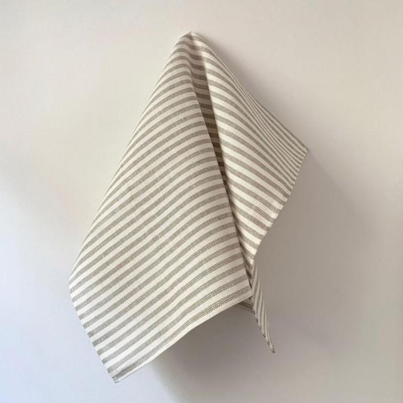 Fog Linen Work / Viskestykke (White/Natural Stripe)
