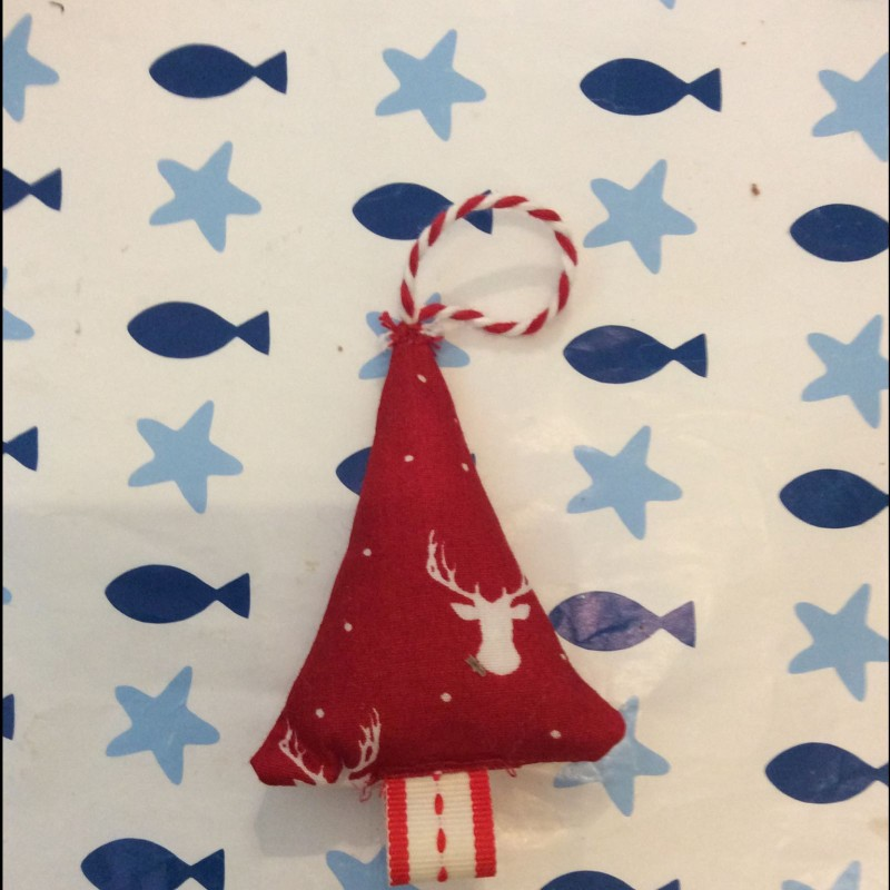 Small fabric Christmas tree or stocking decoration