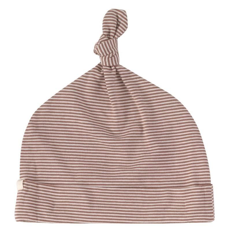 Pigeon knotted hat- fine stripe- walnut