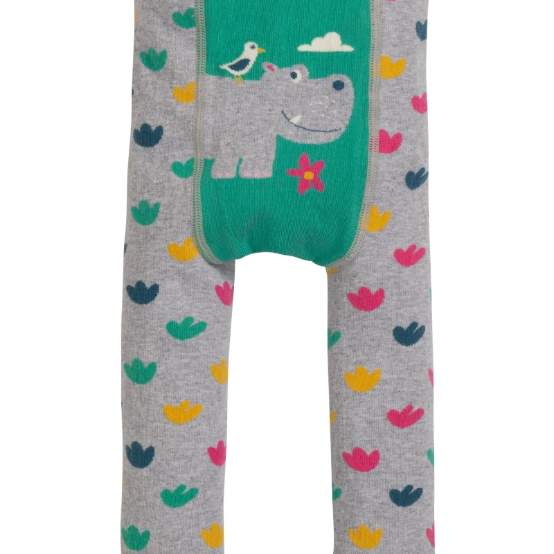 Frugi - Little Knitted Leggings, Grey marl/Hippo