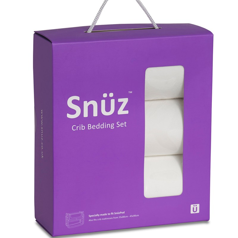 Snuz 3pc. Bedside Crib Bedding Set - White