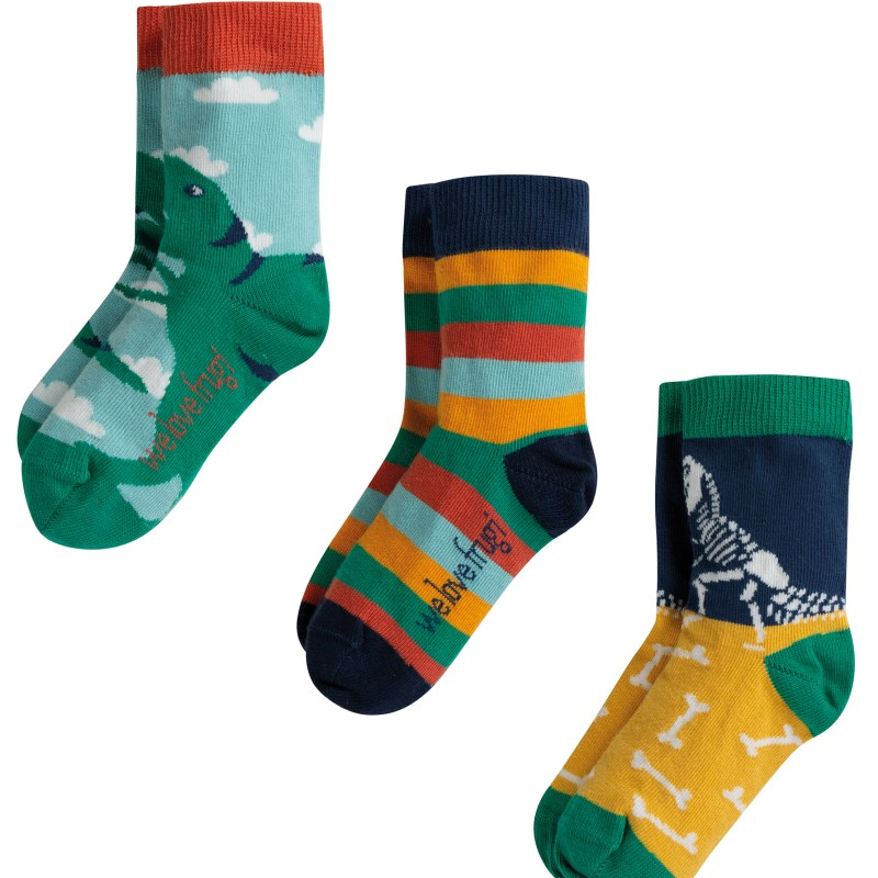 Frugi - Rock My Socks 3 Pack, Dino Multipack, UK 13-2