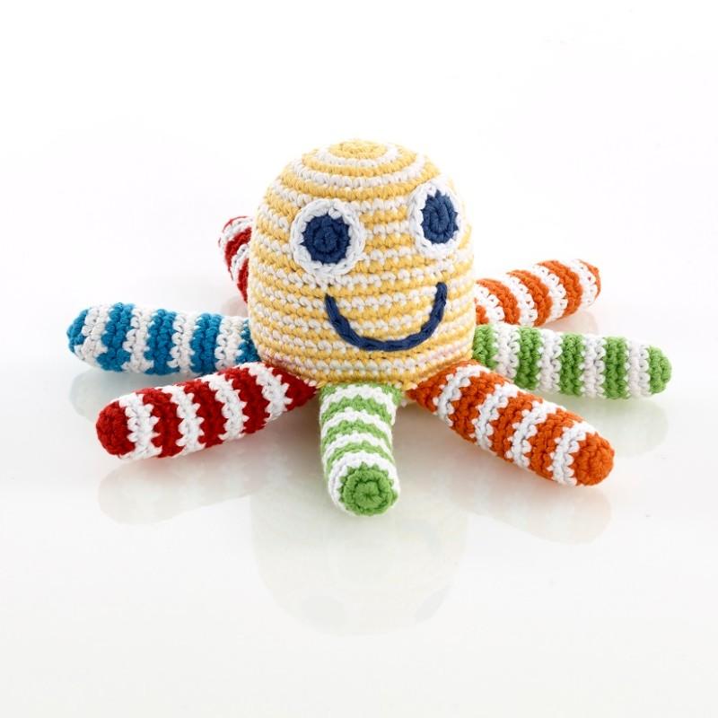 Pebble-Crochet octopus rattle yellow