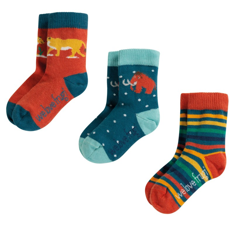 Frugi - Little Socks 3 Pack, Prehistoric Multipack, 0-6m