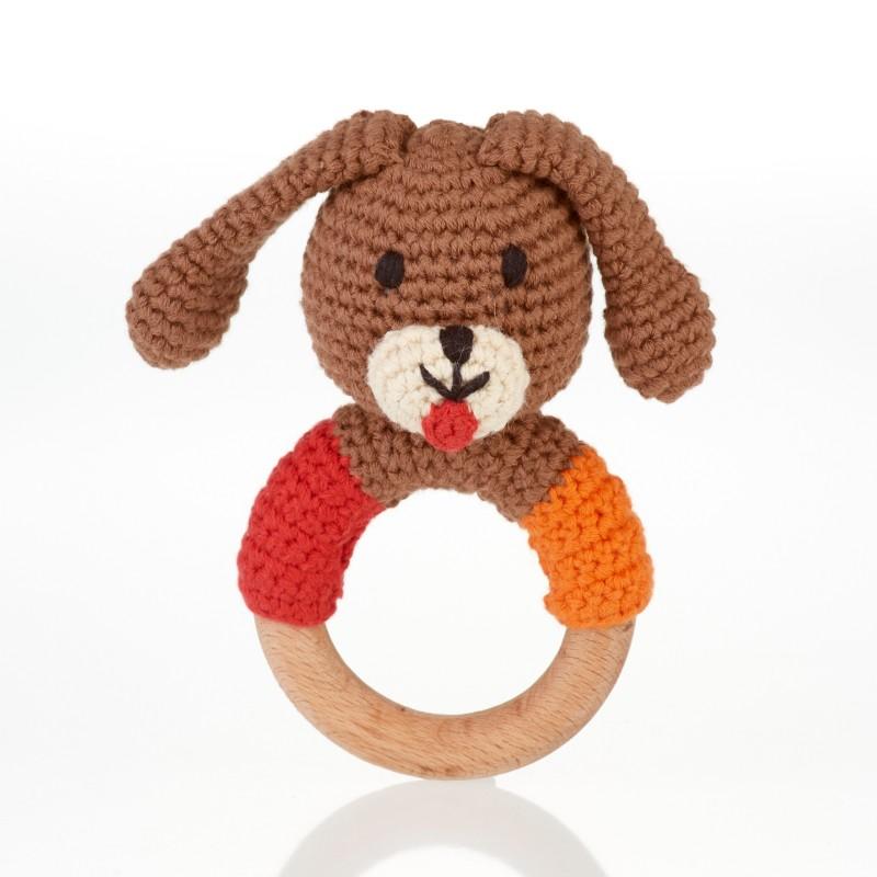 pebble-Wooden ring rattle-dog boy