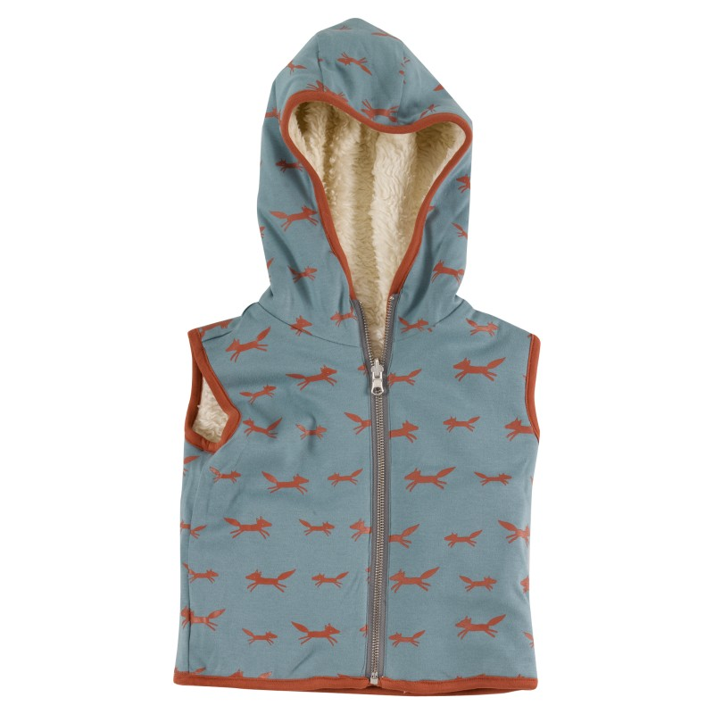 Pigeon Fleecy gilet (reversible), foxes on blue
