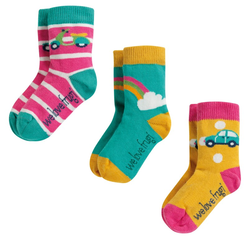 Frugi - Little Socks 3 Pack, Rainbow Mulitpack, 0-6m
