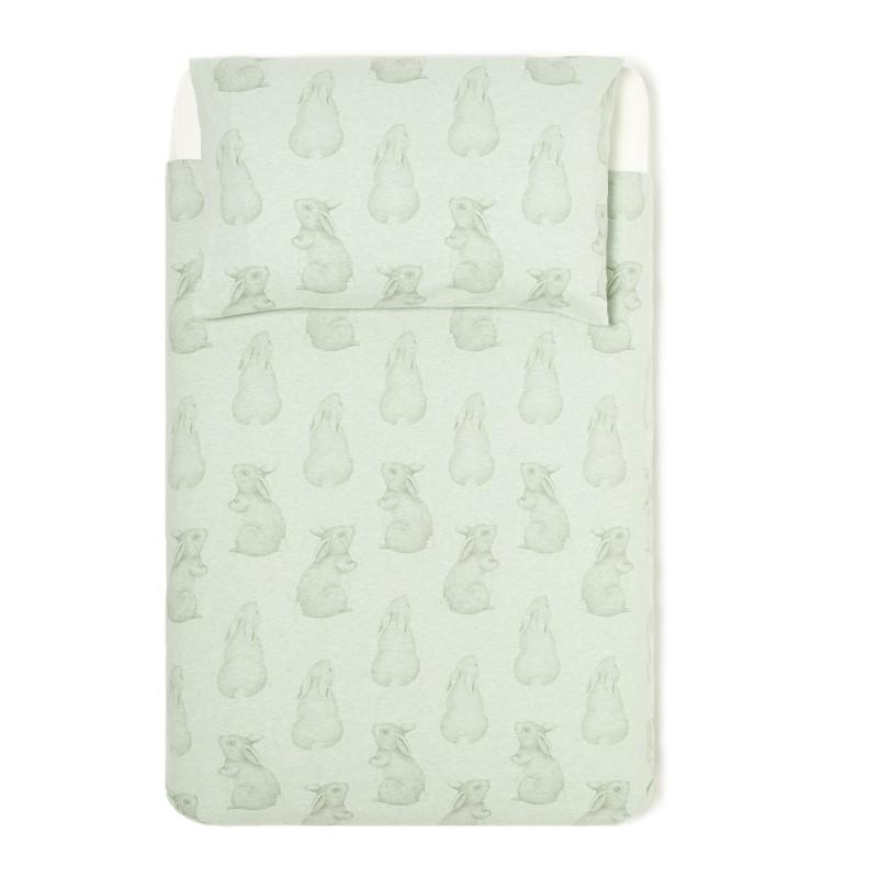 The Little Green Sheep Wild Cotton Organic Cot Bed Duvet Cover Set - Rabbit