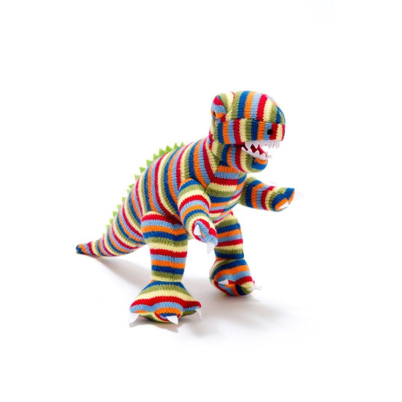 Best Years - Knitted mini multi stripe t-rex rattle