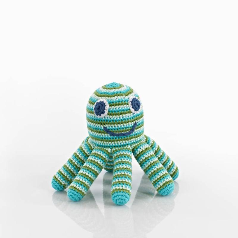 Pebble - Crochet Octopus Rattle Blue/green