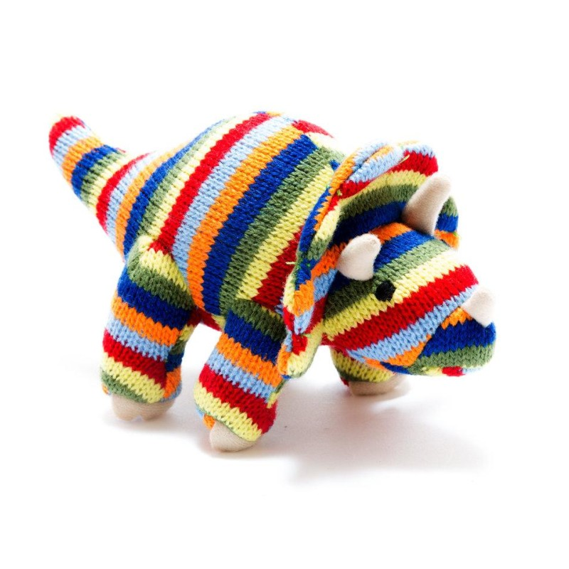 Best Years - Knitted mini multi stripe Triceratops rattle