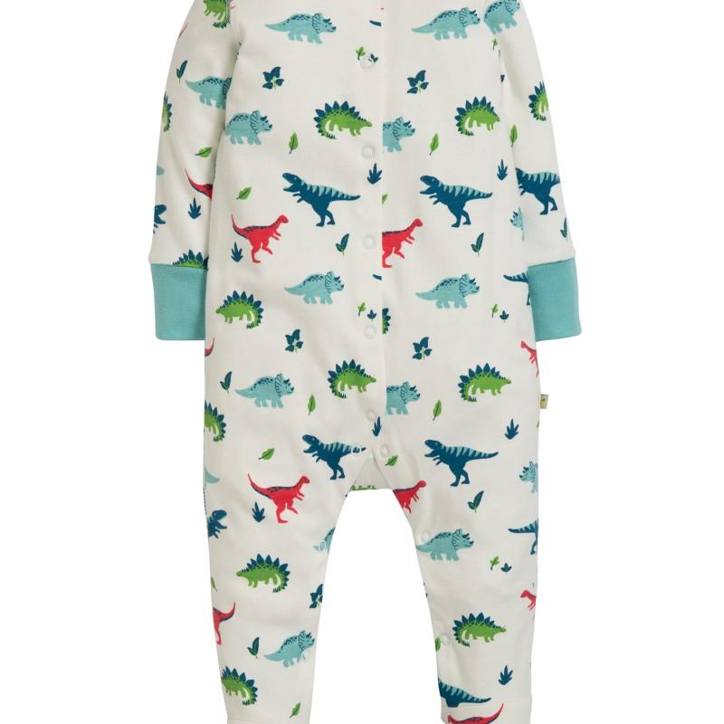 Frugi - Lovely Babygrow, Aqua Dino Field