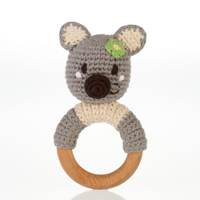 pebble-Wooden ring rattle-Koala