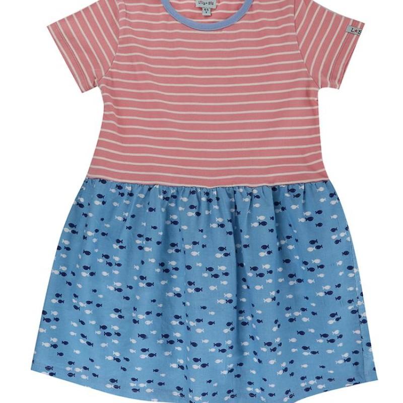 Lilly + Sid - Fabic mix dress - Fish stripe