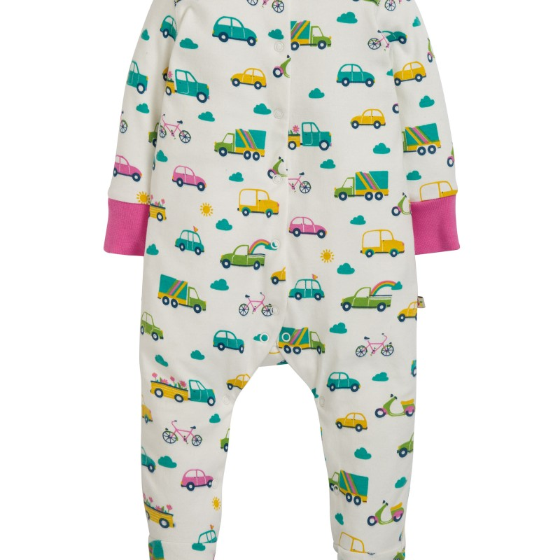 Frugi - Lovely Babygrow, Soft White Rainbow Roads