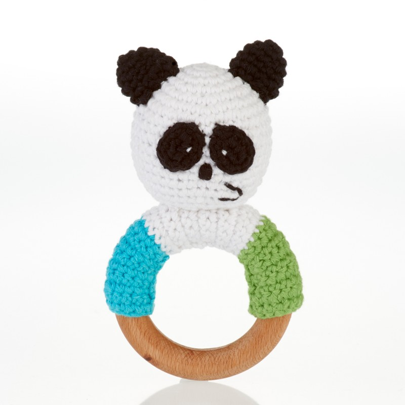 Pebble-wooden ring rattle-Panda