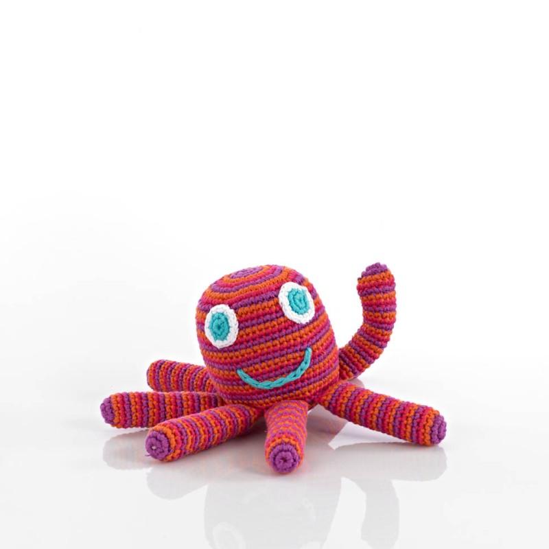 Pebble-Crochet Octopus Rattle pink