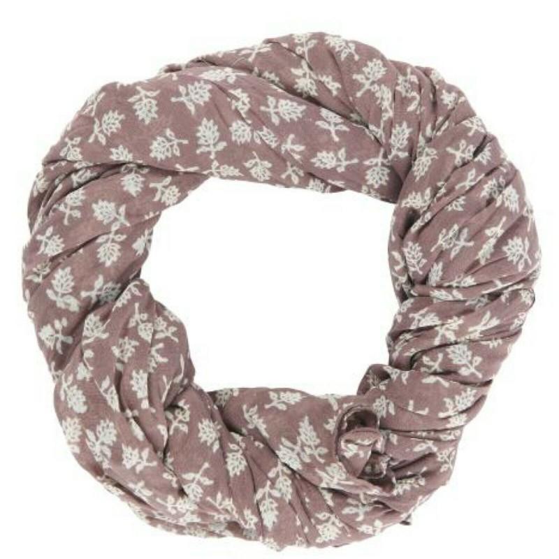 Halstuch rosé mit weißen Blättern
