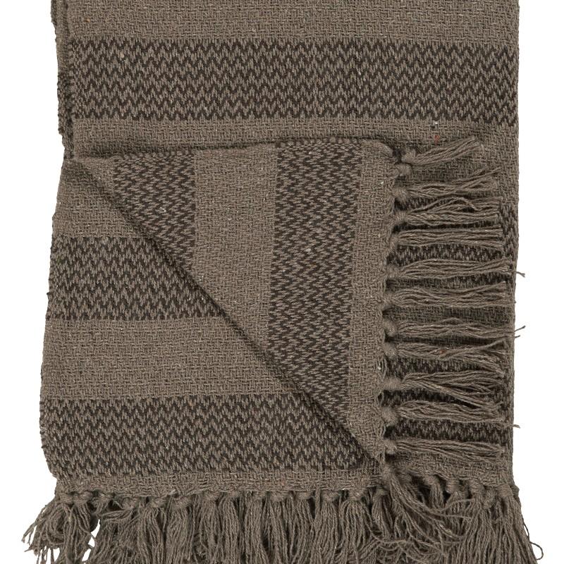 IB Laursen Plaid Tagesdecke Baumwolldecke 130x160 braun-dunkelbraun gestreift