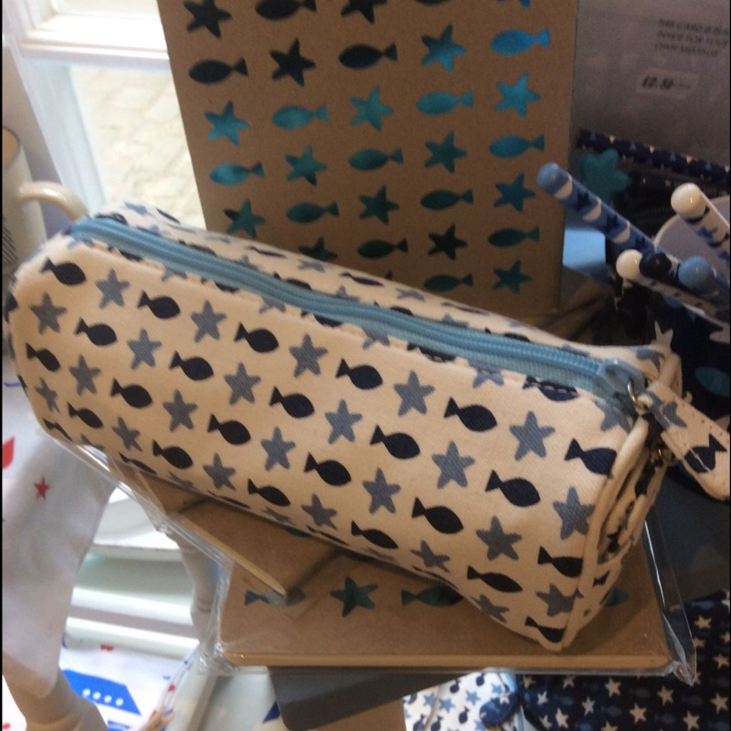 Fish and stars pencil case white