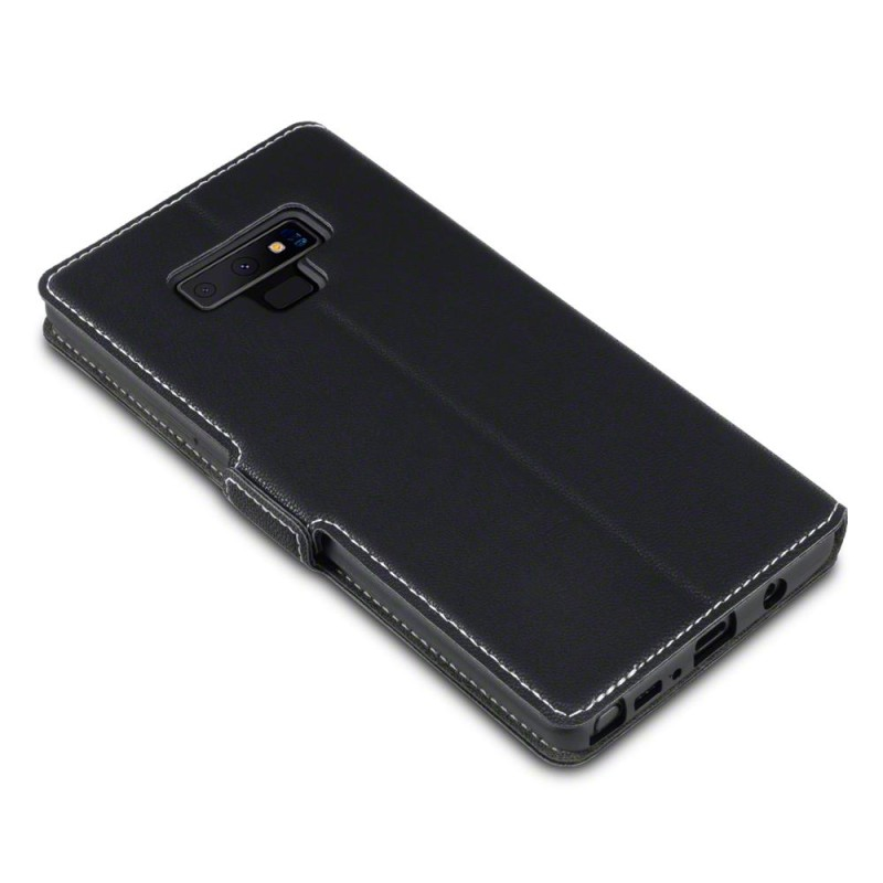 Samsung Note 9 Low Profile PU Leather Wallet Case - Black