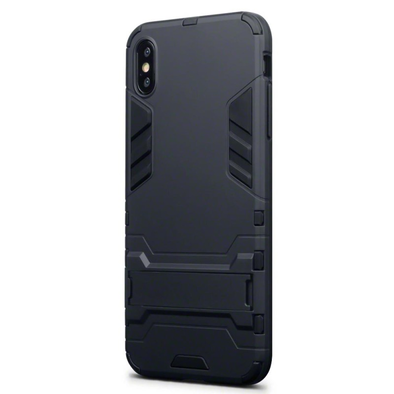 iPhone XS Max Dual Layer Armour Case with Stand - Black