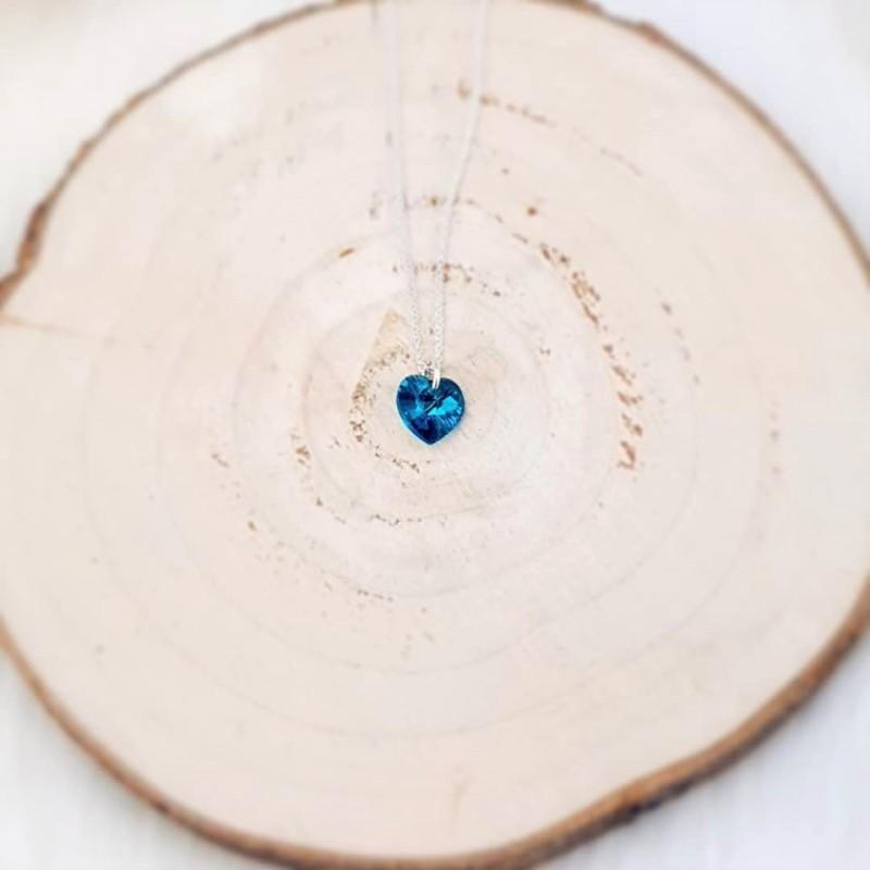 Vakkert sølvsmykke Blue zircon Swarovski hjerte