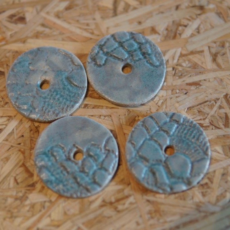 1 hul keramik knapper Tyrkis