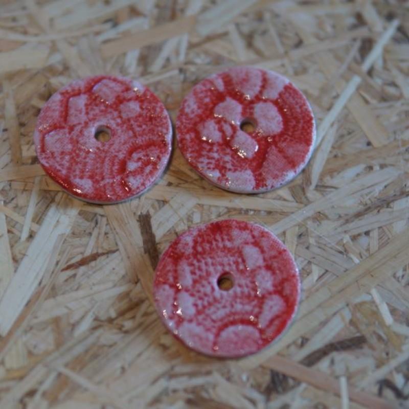 Knapper 1 hul - Rød mønster