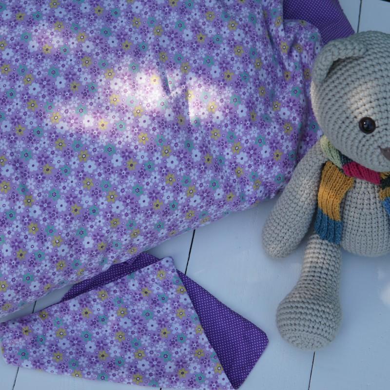 Baby Dynebetræk + Opbevaringspose (Lilla prikker og blomster)