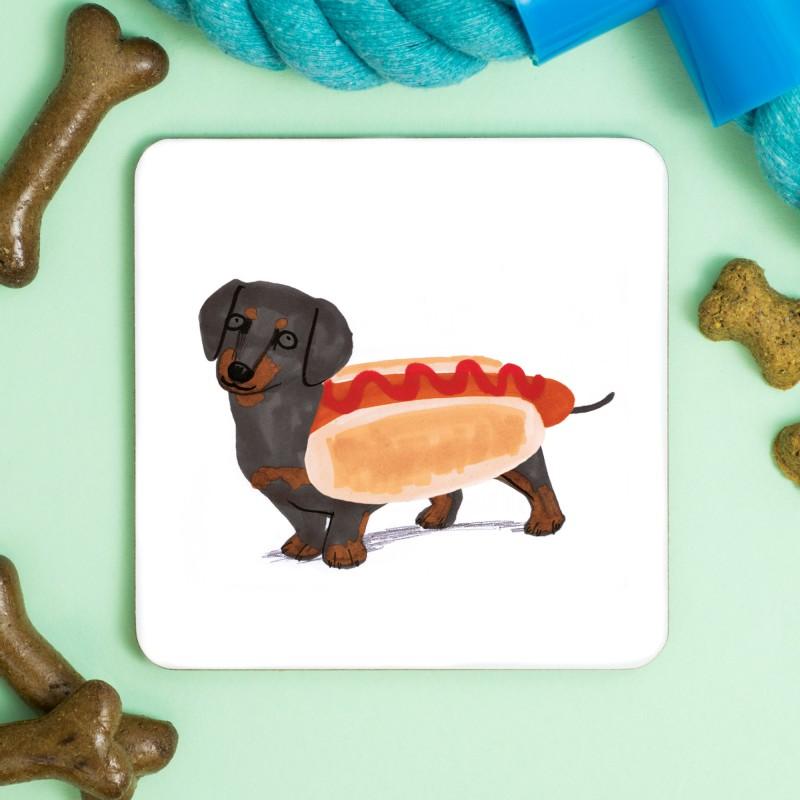 Hotdog Sausage Dog Coaster by Jo Clark
