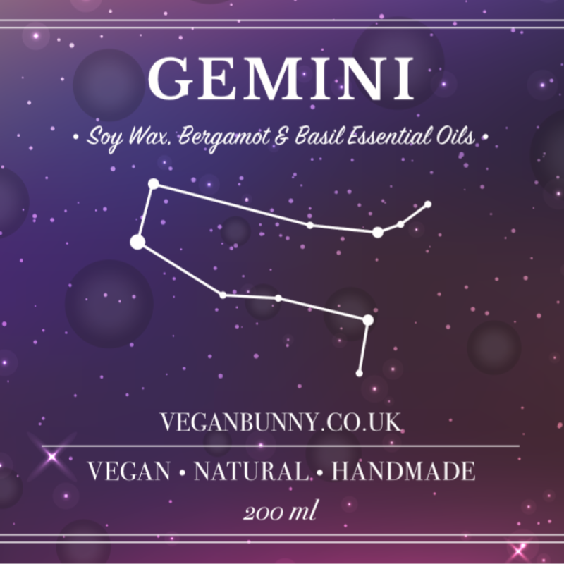 Gemini - Zodiac Sign Soy Candle by Vegan Bunny