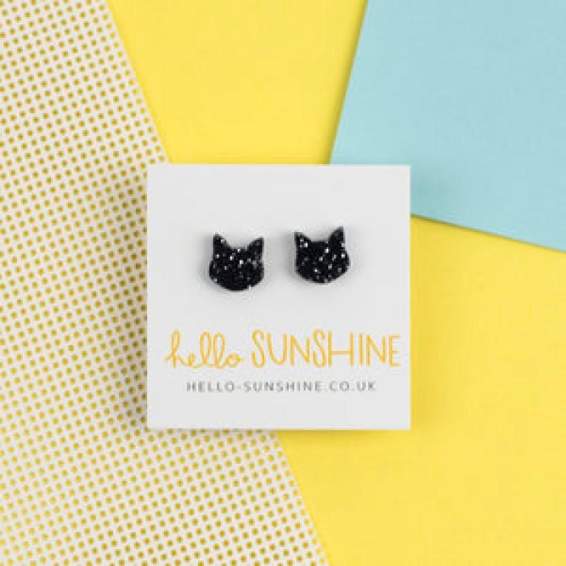 MIDNIGHT GLITTER CAT EARRINGS by Hello Sunshine