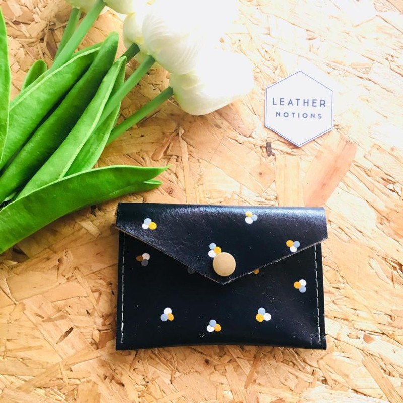 Small Leather Coin Purse (Navy/Polka Dot) by Leather Notions