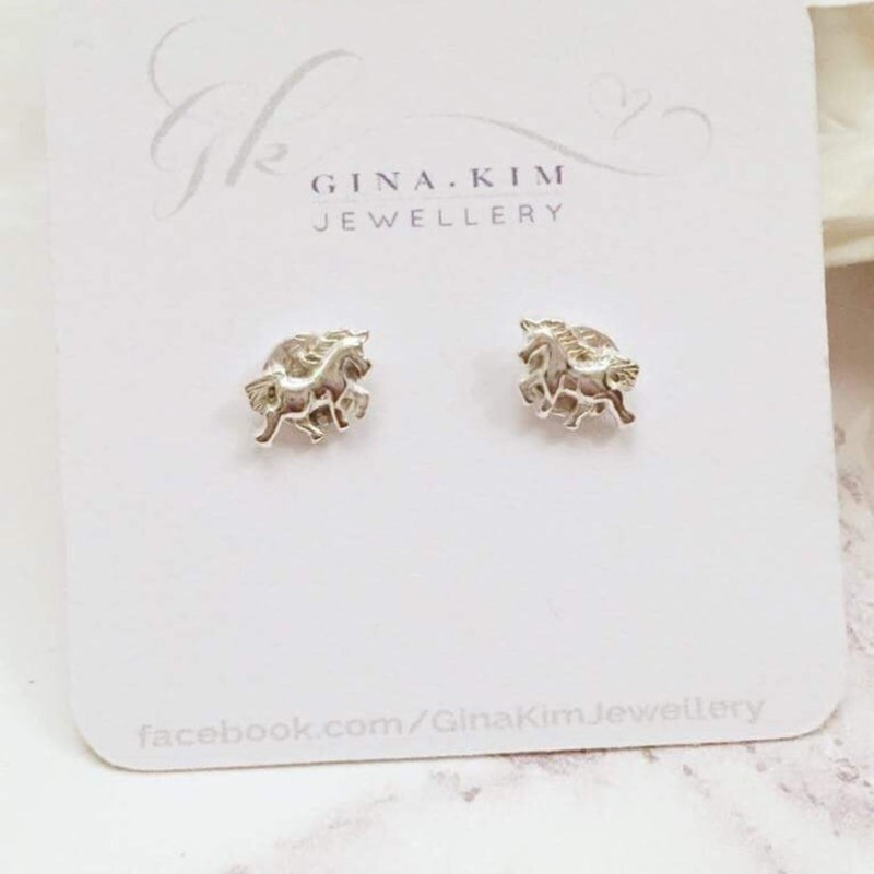 Unicorn Stud Earrings Sterling Silver by Gina Kim Jewellery