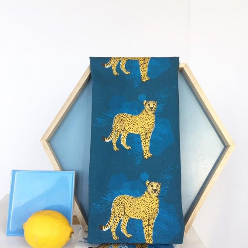 Cheetah Fierce Tea Towel by OhHelloShan