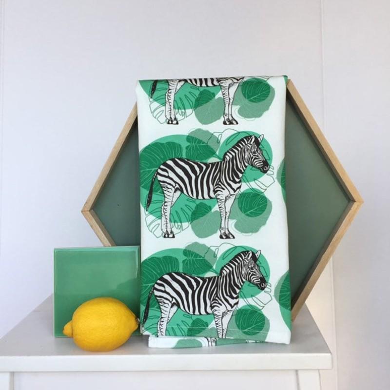 Zebra Tea Towel (White) by OhHelloShan