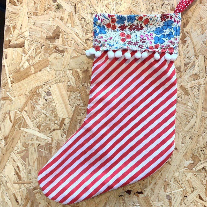 Red Stripe/Floral Christmas Stocking by The Makers' Shelf
