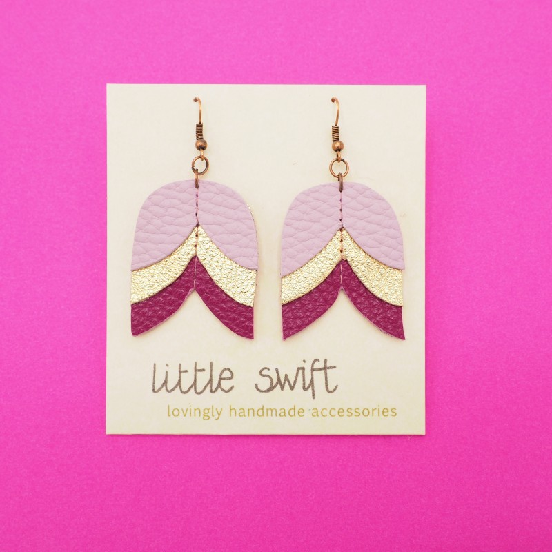 Purple Triangle Recycled Leather Earrings by Little Swift (072)