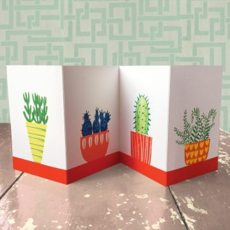 Cactus Concertina Card by Lou Mills (COR4)