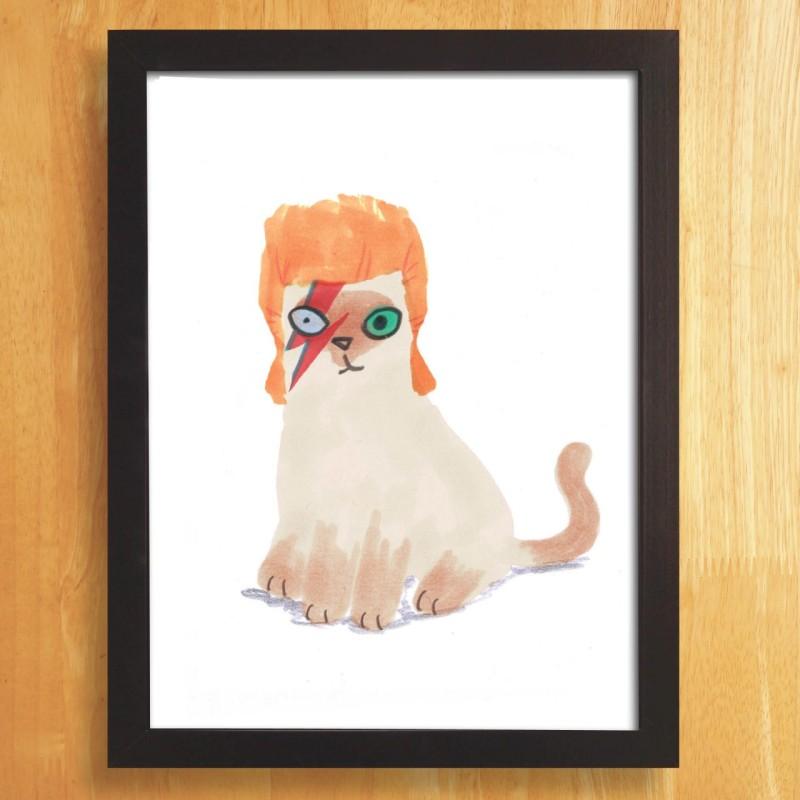 Cat In Bowie Wig A4 unframed print by Jo Clark