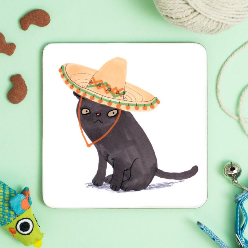 Cat In Sombrero Hat Coaster by Jo Clark