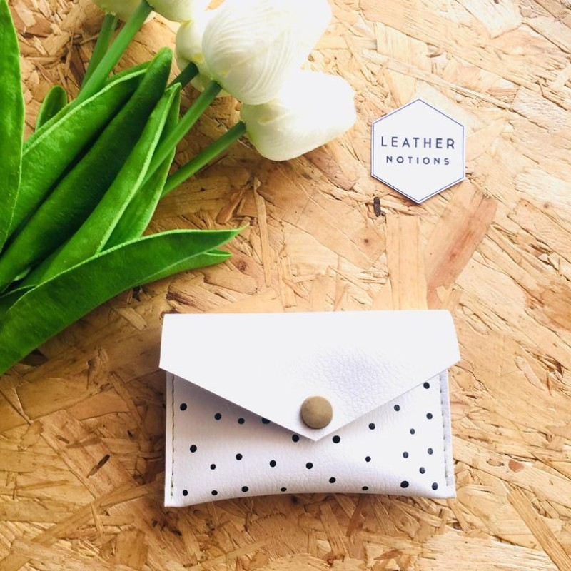 Small Recycled Leather Coin Purse (White/Polka Dot)  by Leather Notions
