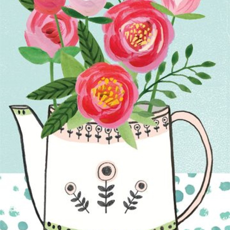Set of 6 floral, Watering Can Note Cards by Lou Mills (NOTP1)