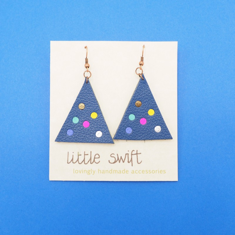 Blue Triangle Recycled Leather Earrings by Little Swift (077)
