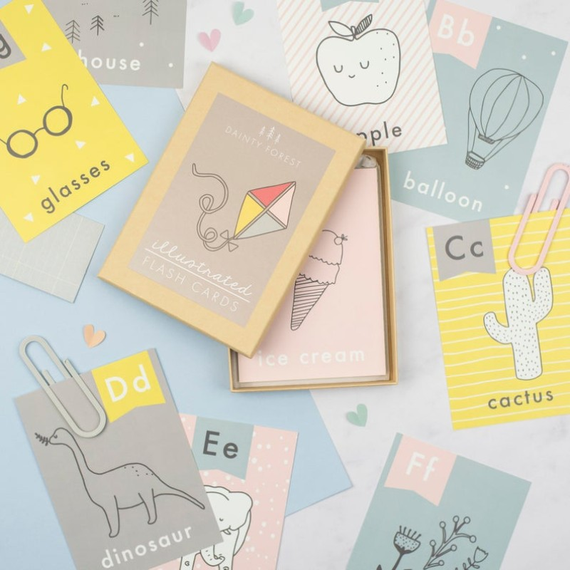 Set of 26 illustrated alphabet flashcards by Dainty Forest