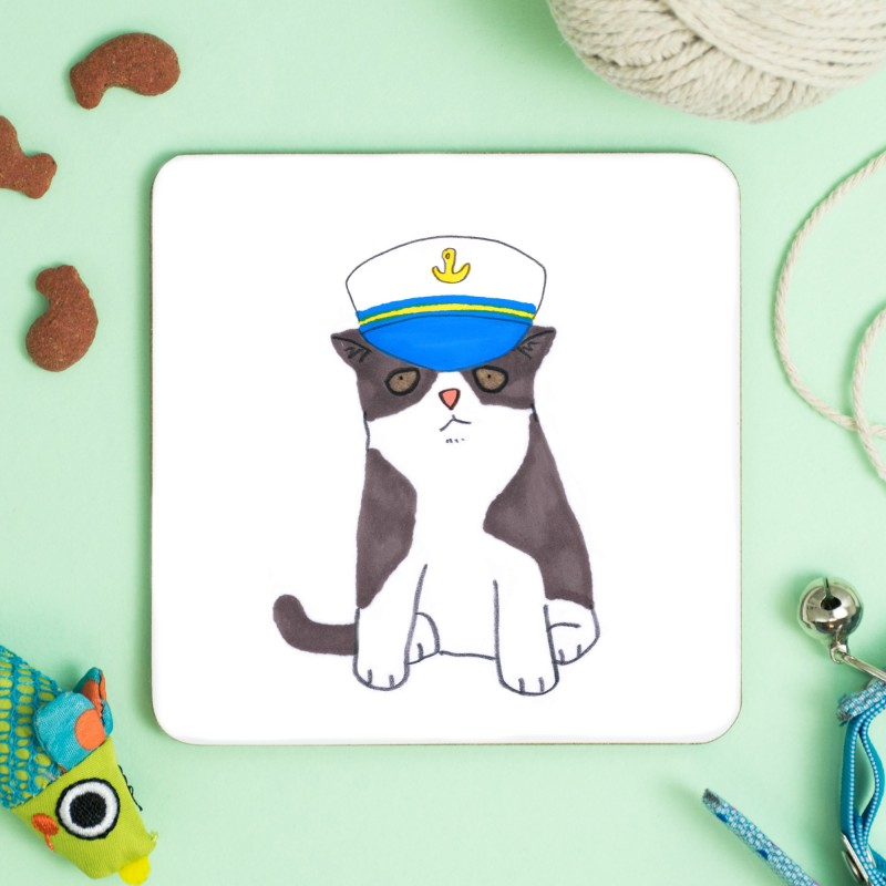 Cat In Captains Hat Coaster by Jo Clark