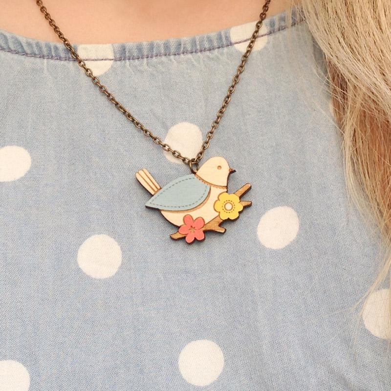 Mini Blue Tit Necklace by Layla Amber