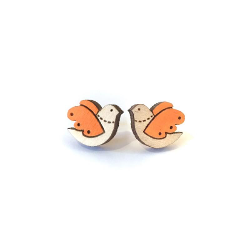 Orange Bird Earrings by Layla Amber