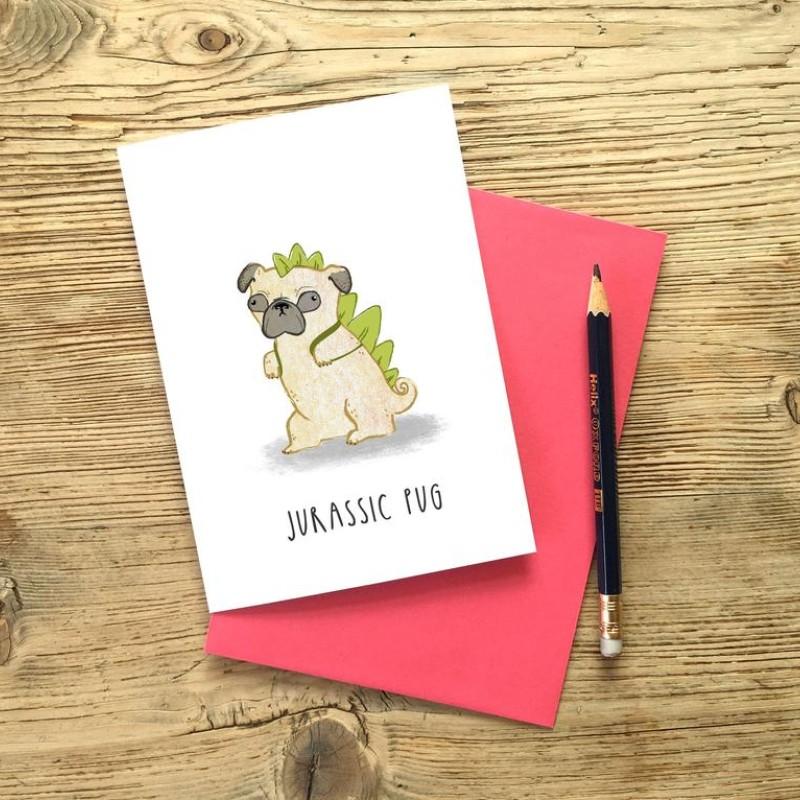 Jurassic Pug Card by Snowtap